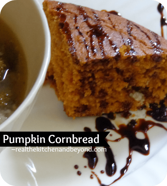 Celebrate autumn flavors with this deliciously moist pumpkin cornbread. A perfect complement to a hearty soup or stew #menuplanning #fallrecipes #pumpkin ~ realthekitchenandbeyond.com
