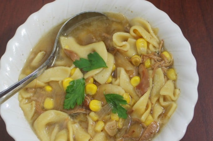 Easy Slow Cooker Chicken NOodle SOup is hearty and perfect for chilly evenings and busy lives. | www.realthekitchenandbeyond.com