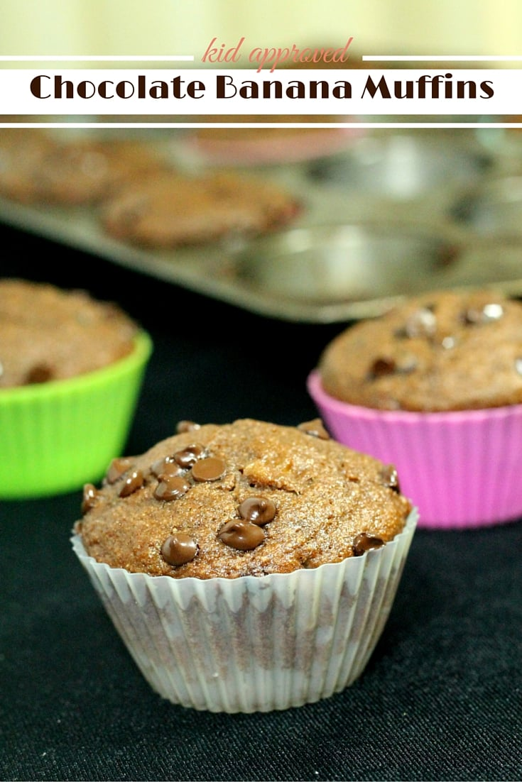Chocolate Banana Muffin Recipe - kid approved easy homemade recipe even the kids can mix up