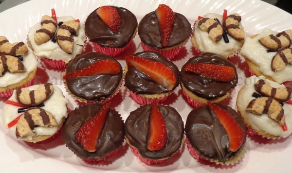 Going classy with Chocolat Covered Strawberry Cupcakes for the adults