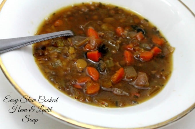 Leftovers Recipes: Use up leftover ham in this delicious and easy slow cooked Ham and Lentil Soup | www.realthekitchenandbeyond.com