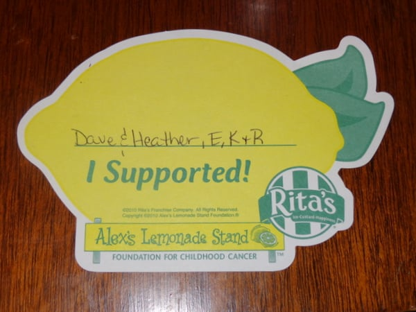 Rita's Water Ice and ALex's Lemonade Stand team up. Buy a paper lemon, donate $1