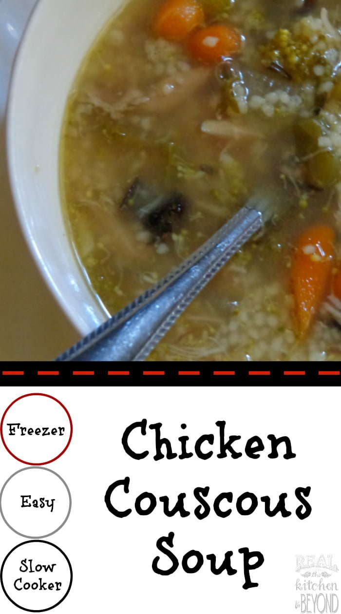 Chicken Couscous Soup is a quick easy slowcooker meal that also makes a great freezer meal recipe | www.realthekitchenandbeyond.com