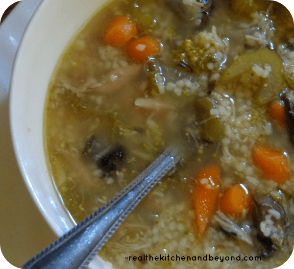 slow cooked chicken couscous soup is perfect for a chilly day after picking apples or enjoying a snowy day ~ realthekitchenandbeyond.com