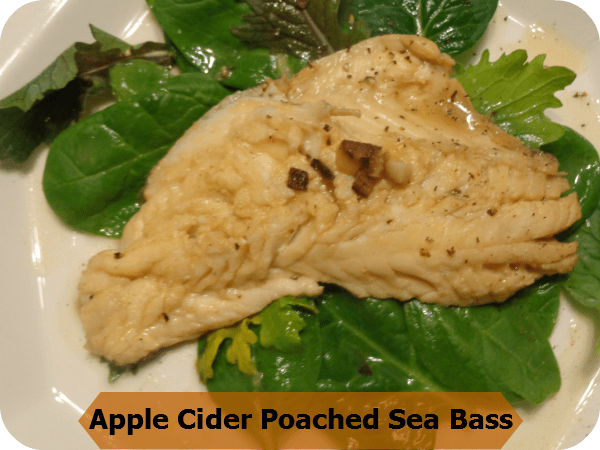 apple cider poached sea bass