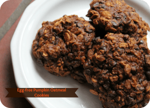 egg-free pumpkin oatmeal cookies cut the eggs and butter but still offer a delicious snack time treat #recipe #pumpkin #cookies