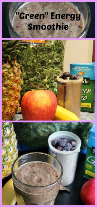 green energy smoothie and fruit