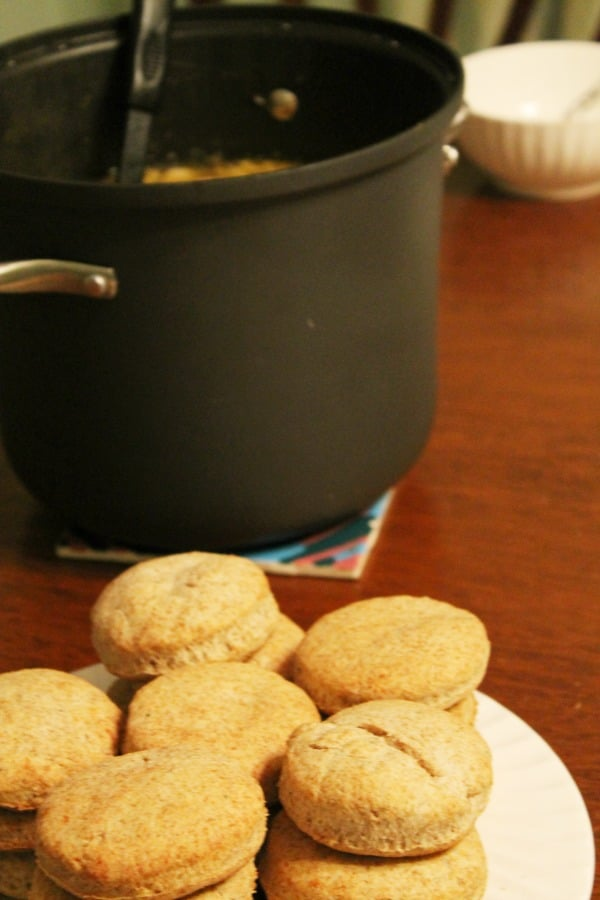Whole Wheat Cheddar Biscuits and Chicken Soup