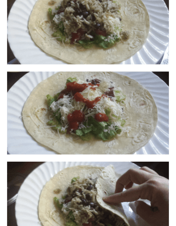 Steps to making a bean burrito in pictures