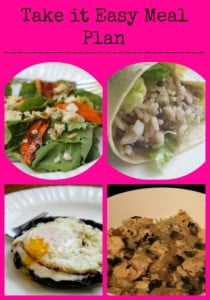 Take it easy meal plan with meal pictures