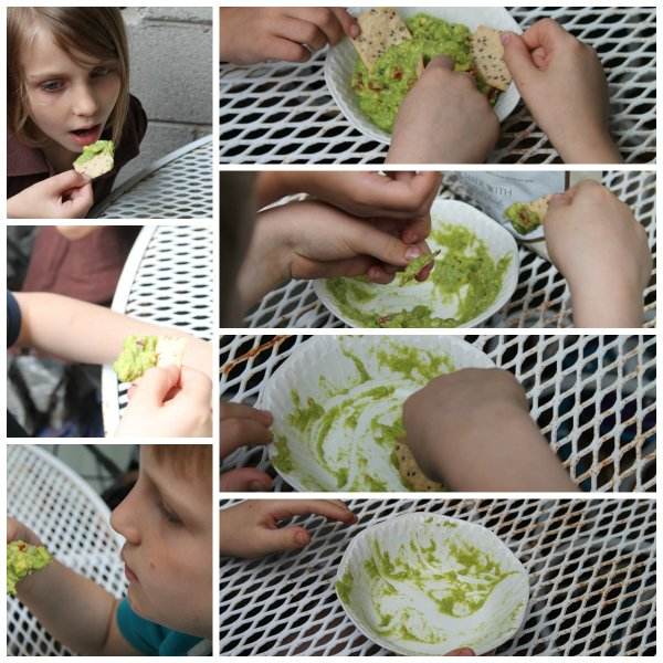 kids eating homemade guacamole