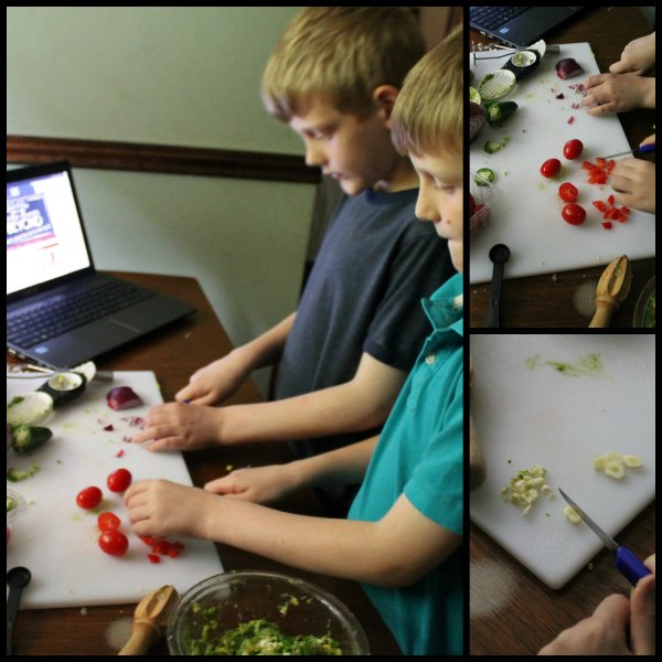 kids preparing guacamole