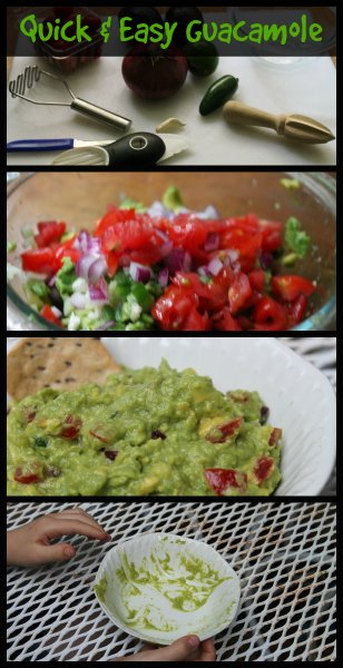 guacamole collage - ingredients, made and empty dish