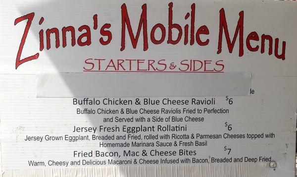 Zinna's Mobile Menu - Buffalo Chicken and Blue Cheese Ravioli