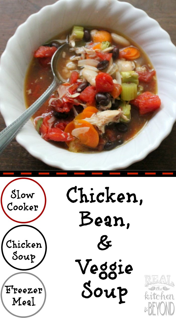 Slow Cooker Chicken, Bean, and Veggie Soup is a perfect leftover meal or to make and stick in the freezer. | www.realthekitchenandbeyond.com