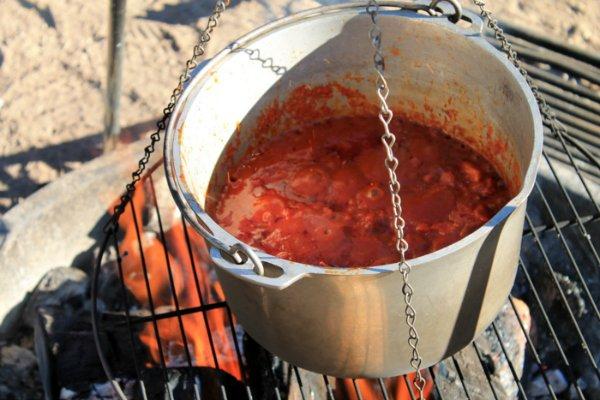 chorizo zucchini chili simmering