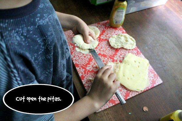 jarlsberg turkey apple melts step 1 - cut the pitas