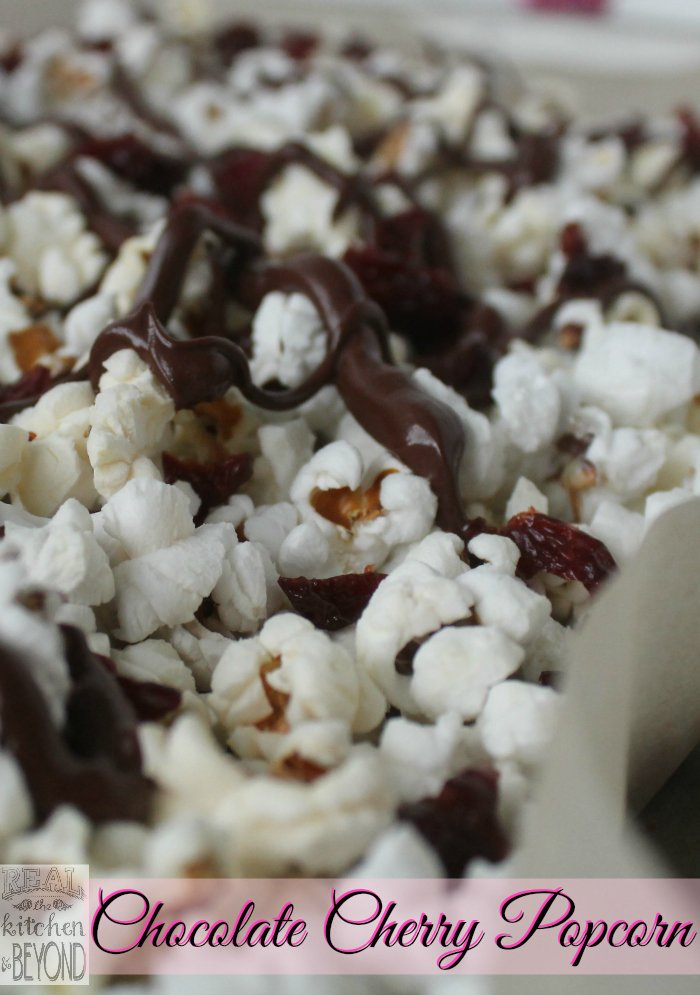 Easy Popcorn Recipes: Chocolate Cherry Popcorn uses just 3 ingredients and is a quick and easy treat to make for Valentine's Day or any day. Best of all it's nut-free and gluten-free. | www.realthekitchenandbeyond.com