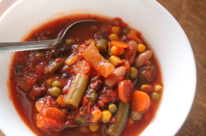 Slow Cooker Recipes: Savory Vegetable Soup that is vegan, gluten-free, and dairy-free - Www.realthekitchenandbeyond.com