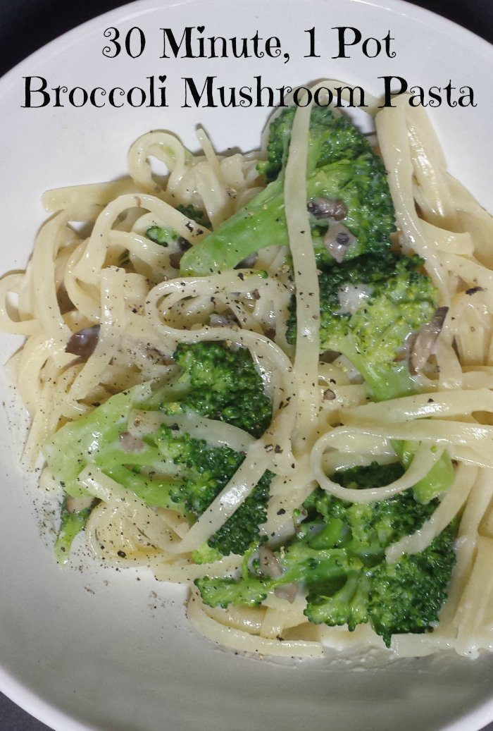 30 Minute 1 Pot Dinner: Broccoli Mushroom Pasta - Real: The Kitchen and Beyond