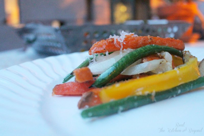 Healthy Grilling Recipe - Parmesan Sweet Potato Fries and Veggies - Real: The Kitchen and Beyond