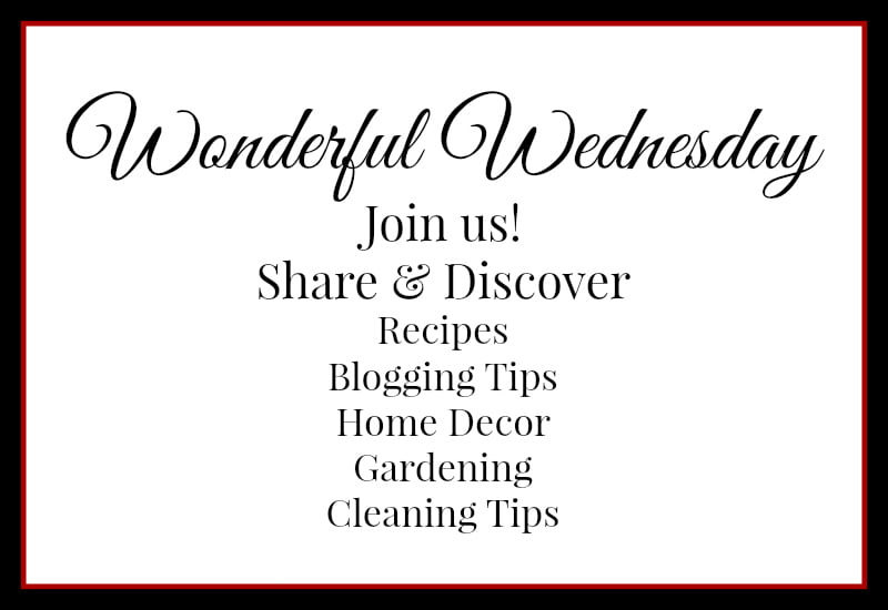 Wonderful Wednesday - Join and discover, recipes, blogging tips, cleaning tips, hoe decor, gardening