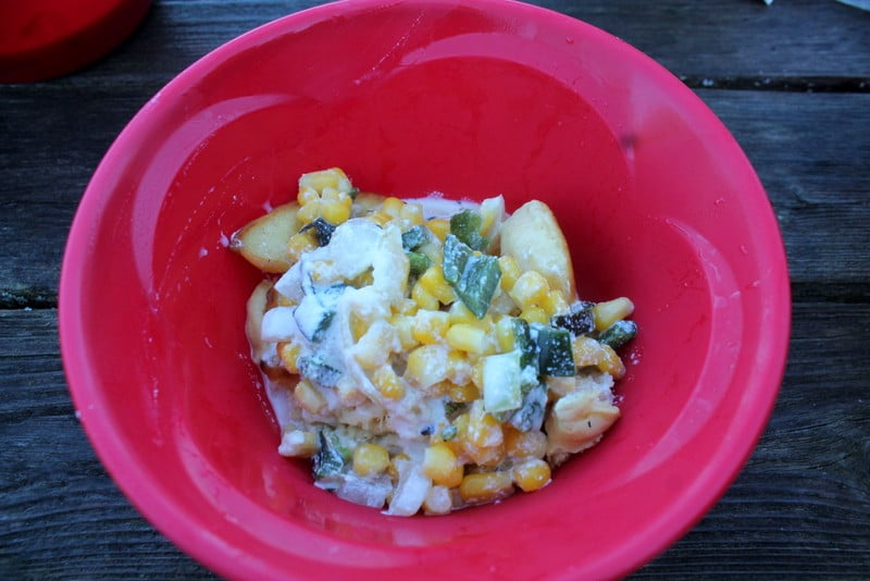 Fire Roasted Poblano Corn Soup over Pancakes