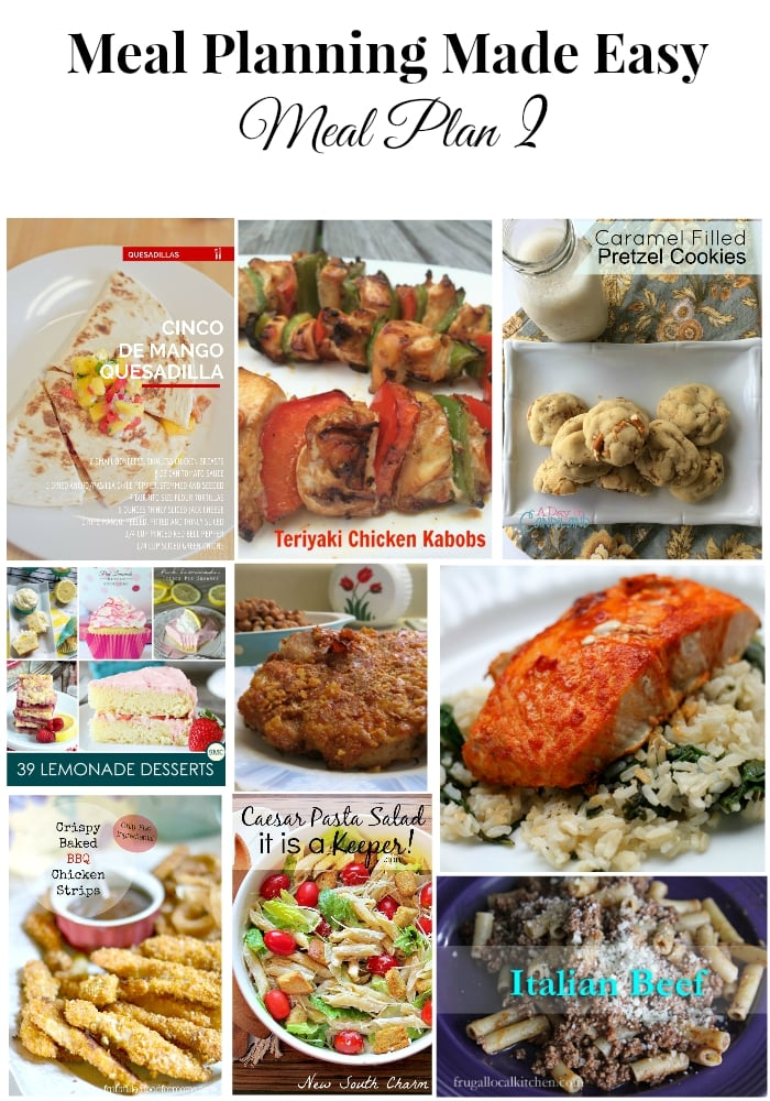 Meal Planning Made Easy Meal Plan 2