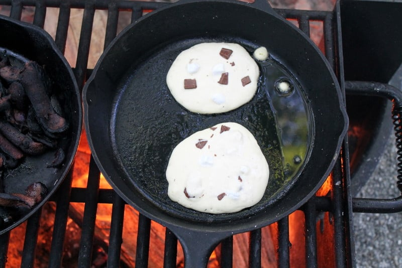 S'more Pancakes Frying