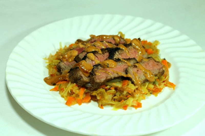 HelloFresh Reuben Steak and Braised Cabbage with Russian Dressing Pan Sauce