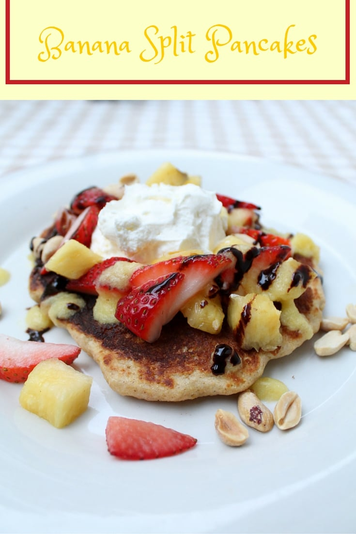 Easy and healthy, this banana split pancake recipe will make you feel like you've had dessert for breakfast