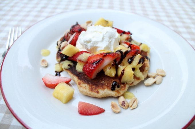 Easy and healthy, this banana split pancake recipe will make you feel lke you've had dessert for breakfast