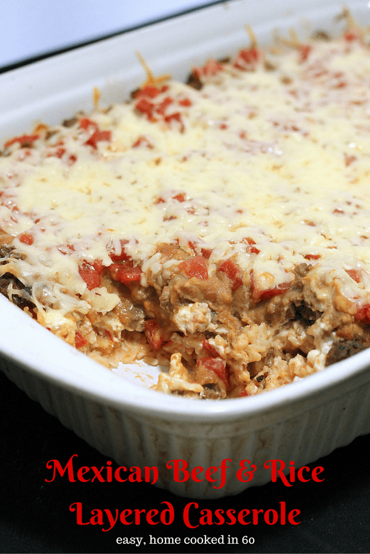 Mexican Beef and Rice Layered Casserole - Easy Homemade Recipes that make evening easier for busy families