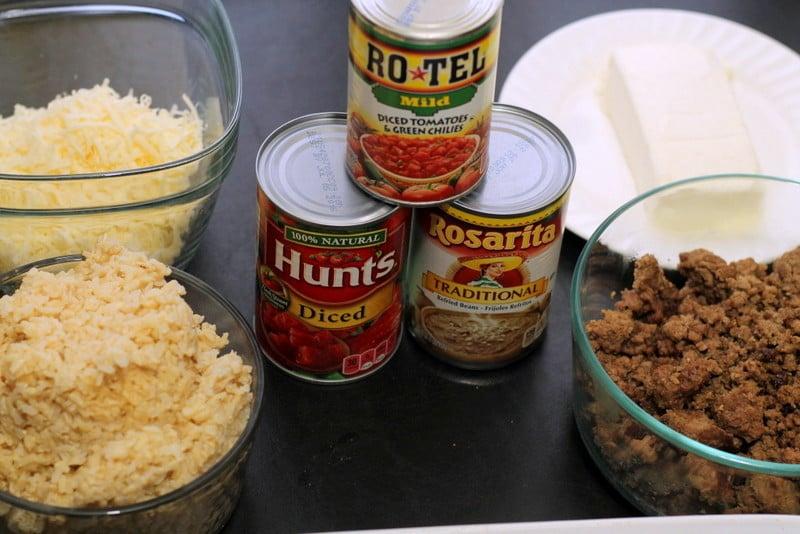Mexican Beef and Rice Layered Casserole Ingredients