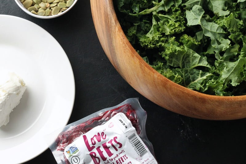 Beet and Goat's Cheese Kale Salad Ingredients