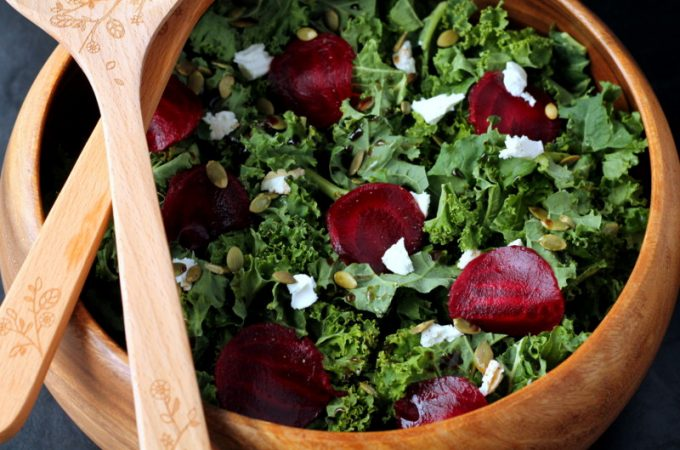Beet and Goat's Cheese Kale Salad Power Lunch