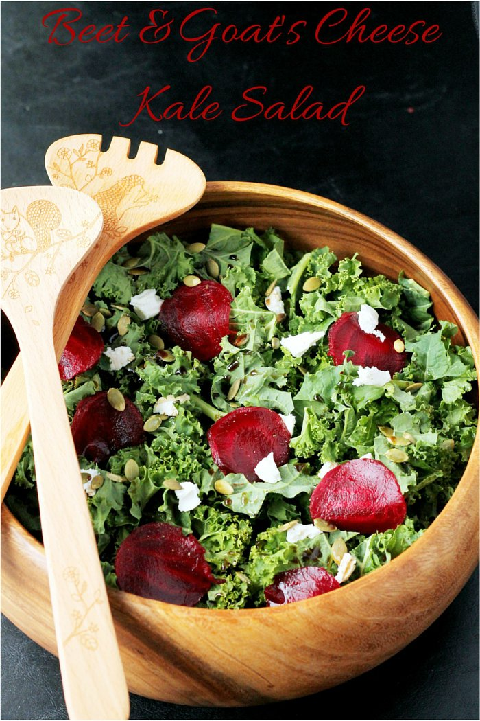 Beet and Goat's Cheese Kale Salad - An easy salad recipe for lunch or entertaining
