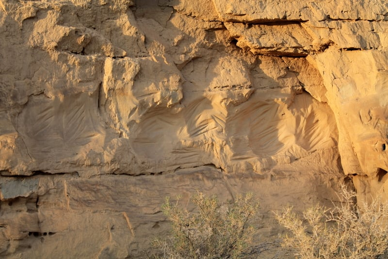 Chaco Culture rock rubbings. Sharpening tools
