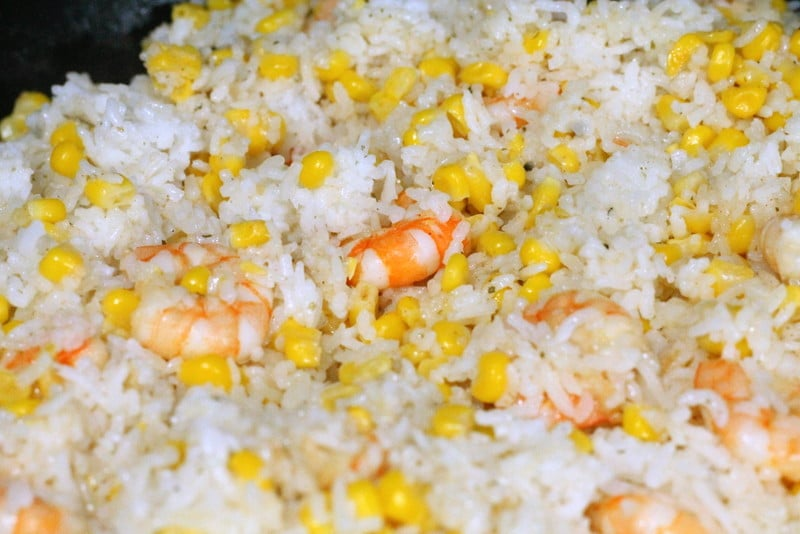 Lime Shrimp, Corn, and Rice Skillet Recipe
