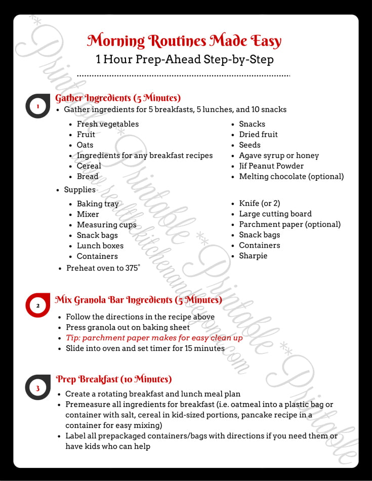 Make Mornings Easier with this 1 Hour Prep-Ahead Step-by-Step Printable