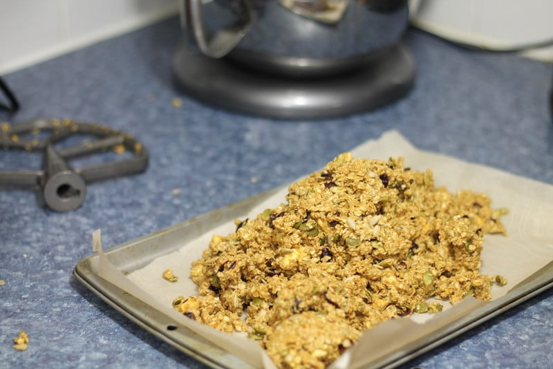 Peanut Butter Granola Bar Recipe on Tray