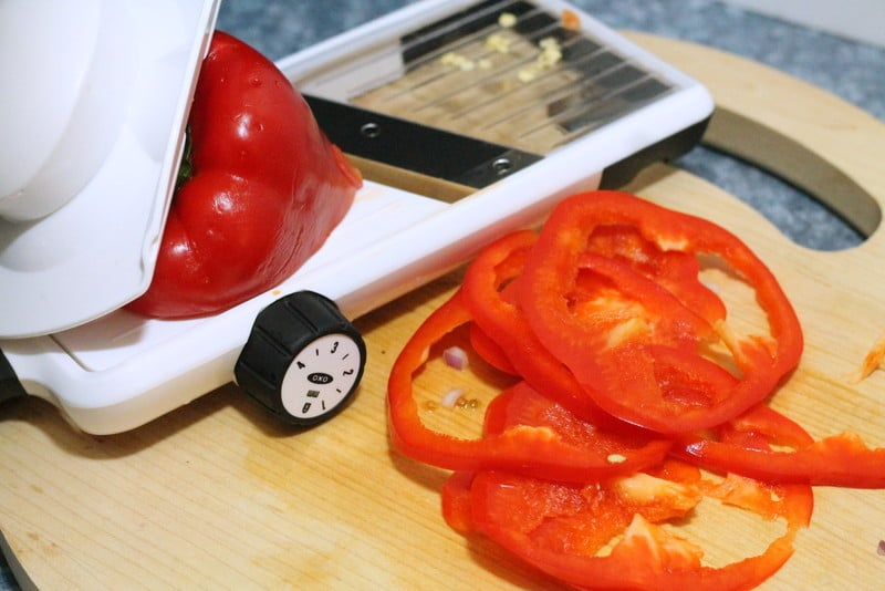 OXO Adjustable mandoline with peppers