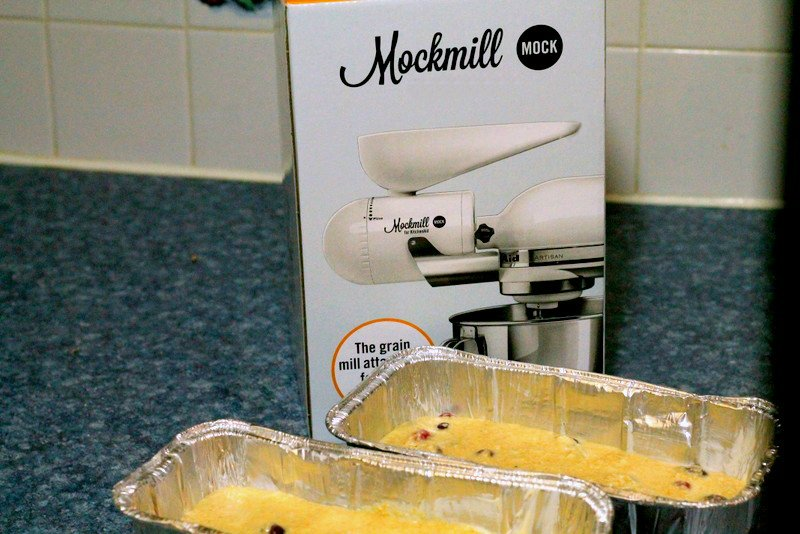 Mockmill with cranberry coconut quick bread batter