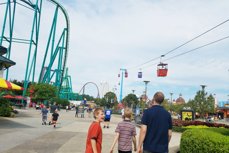 Cedar Point Sky Ride and family