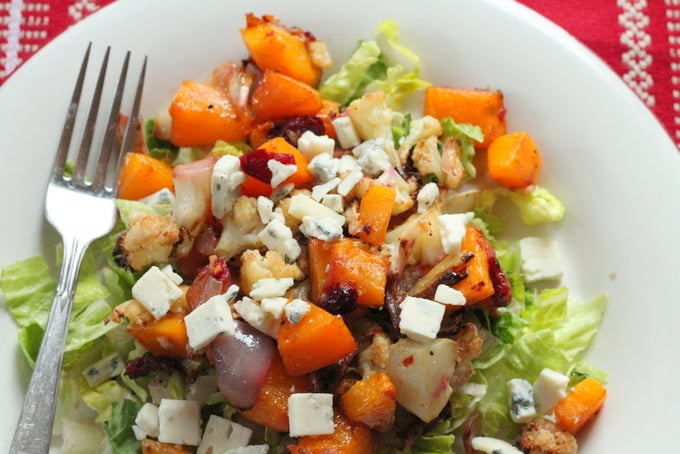 Spicy Sweet Roasted Butternut Squash and Cauliflower Salad