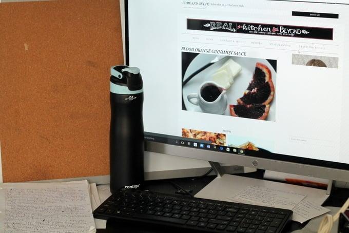 Contigo water bottle by desk