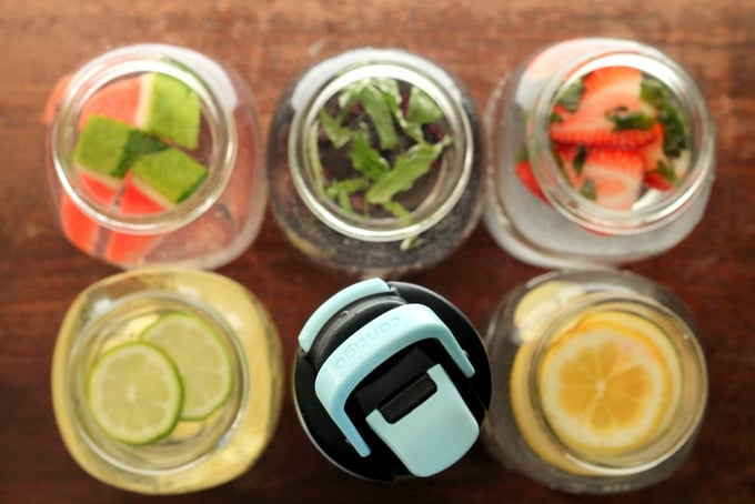 Contigo Water Bottle with 5 Homemade Flavored Water Combinations