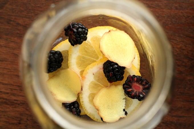 How to Make Blackberry Lemon Ginger Flavored Water