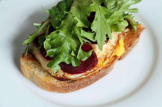 Open-faced Sandwich recipe Pickled Beet and Brie Egg