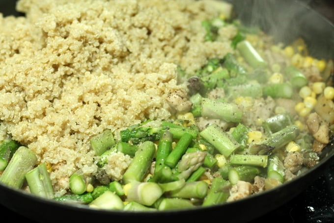 Chicken, Asparagus, and Corn Quinoa Bowl